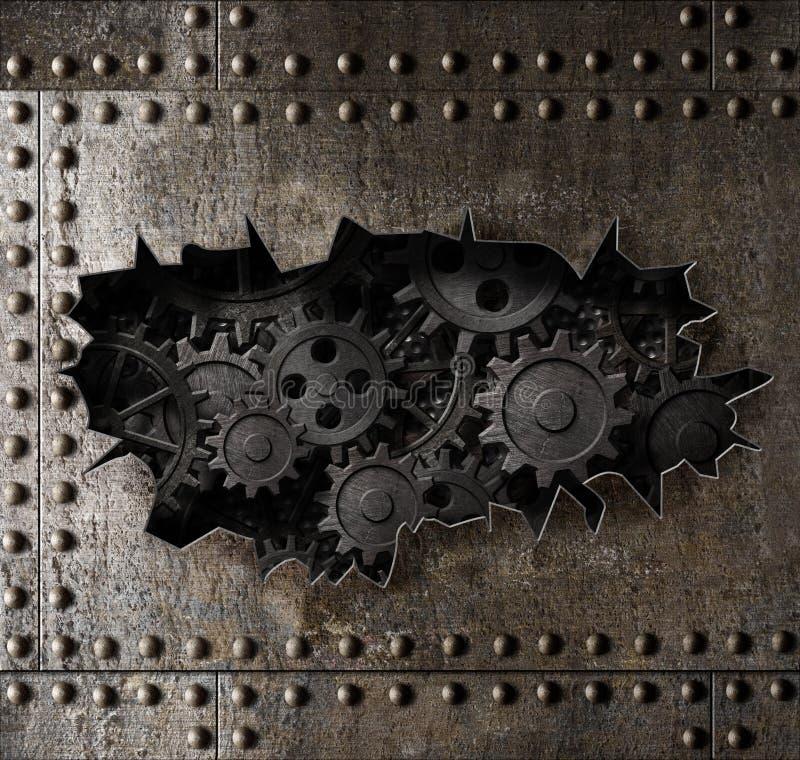 Alter Metallrüstungshintergrund mit rostiger Gang- und Zahn3d Illustration lizenzfreie abbildung