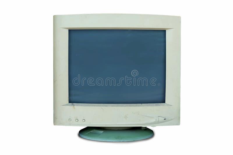 Alter Monitorcomputer, das defekt verwendet sind oder nicht, oder veraltetes lokalisiert auf weißem Hintergrund stockfotografie