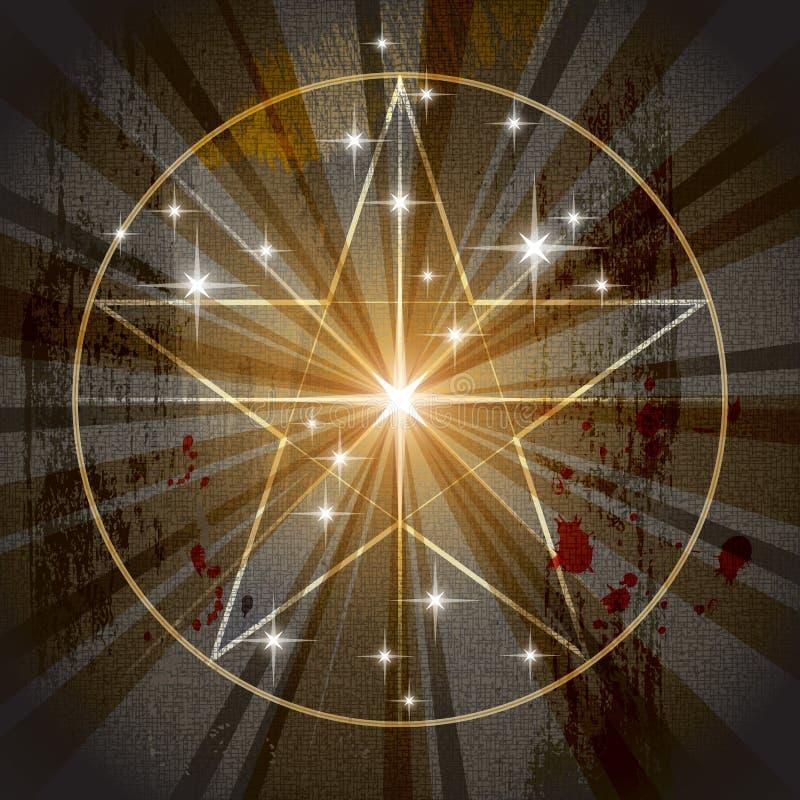 Alter mystischer Pentagram lizenzfreie abbildung
