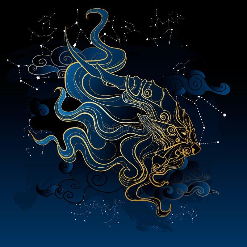 Alter mythischer Löwe stock abbildung