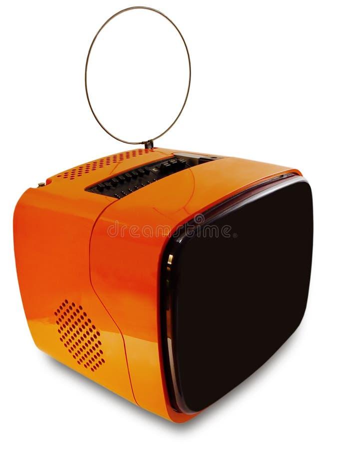 Alter orange Achtzigerjahre Fernsehapparat - Ansicht 1 stockbilder