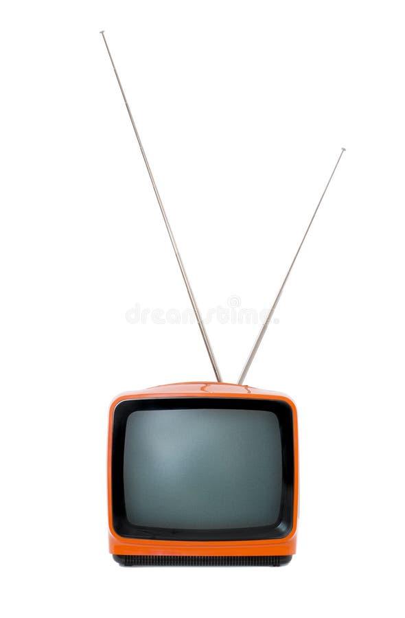 Alter orange Retro- Fernsehapparat stockbilder