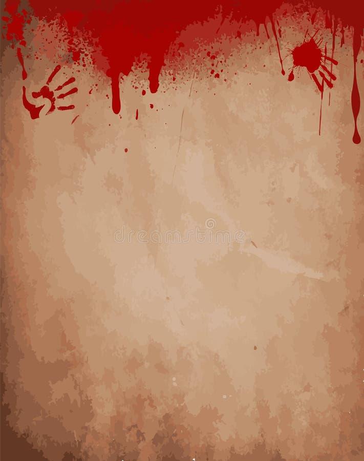 Alter Papierhintergrund mit Bratenfettblut, blutige Handabdrücke lizenzfreie abbildung