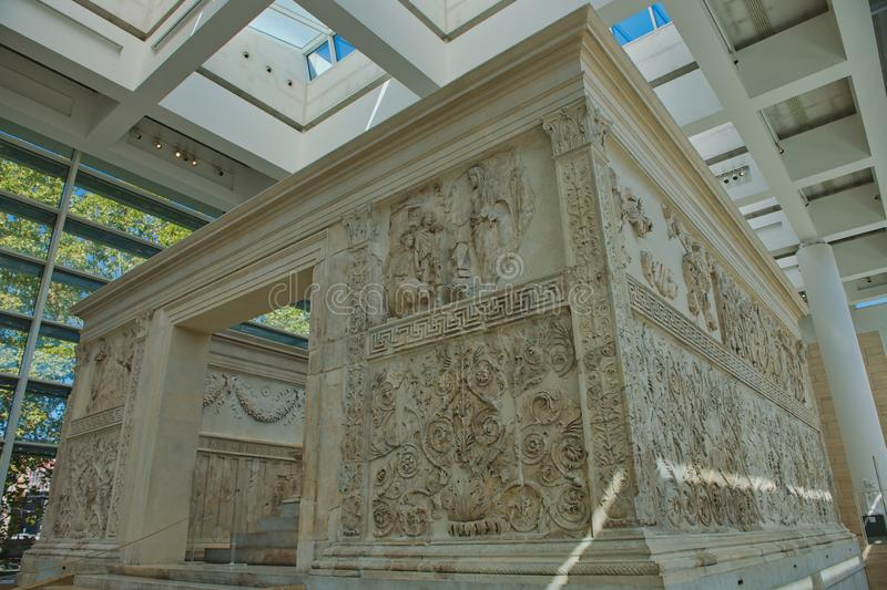 Alter of Peace in Rome. The alter of peace or Accra Pacis Augustae was commissioned by the Roman senate on the4th July 13bc to honour the return of Augustus royalty free stock photos