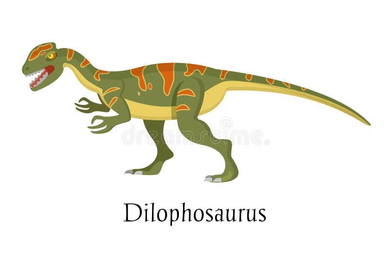 Alter prähistorischer Tierdinosaurier Großer wilder Boden räuberischer Tierdilophosaurus lizenzfreie abbildung