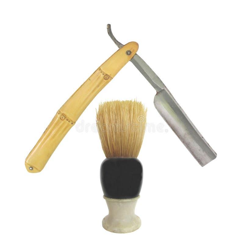 Alter Rasierpinsel und gerades Rasiermesser lizenzfreie stockfotografie