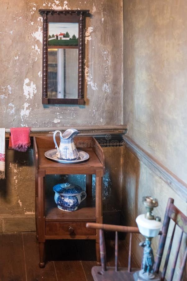 Alter Raum in einem ältesten Haus in Illinois stockfoto