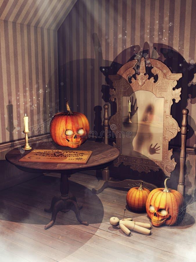 Alter Raum mit Halloween-Kürbisen und magischen Einzelteilen lizenzfreie abbildung