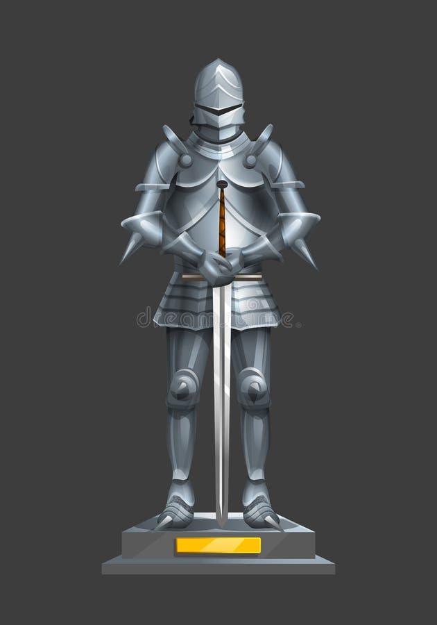 Alter Ritter der Rüstung mit einer Klinge auf einem Sockel lizenzfreie abbildung
