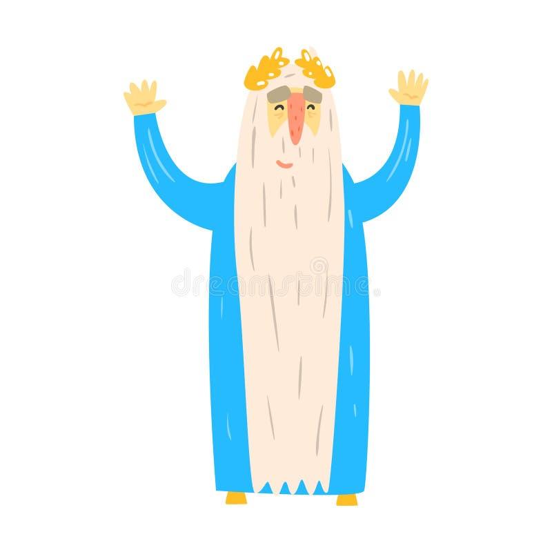 Alter Roman King In Blue Mantle mit Laurel Wreath Fairy-Tale Cartoon Childish-Charakter lizenzfreie abbildung