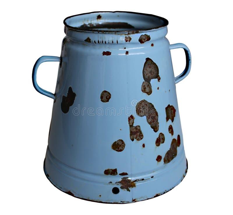 Alter Rusty Pot Isolated auf weißem Hintergrund stockbild