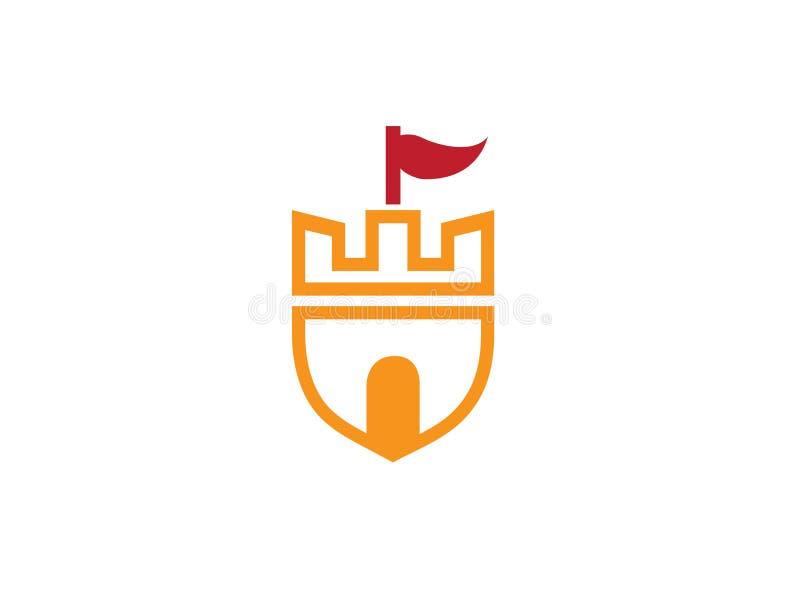 Alter Schloss-Turm in einem Schildsymbol mit einer Flagge auf der Spitzen- und großen Tür für Logoentwurfsillustration lizenzfreie abbildung