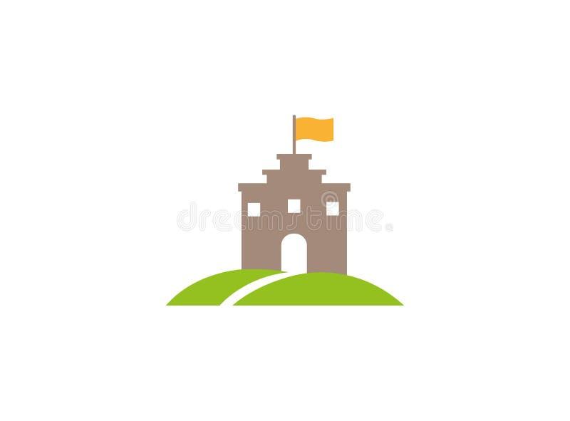 Alter Schloss-Turm in einer grünen Hochebene mit einer Flagge auf die Oberseite und Straße zur großen Tür und Fenster für Logoent stock abbildung