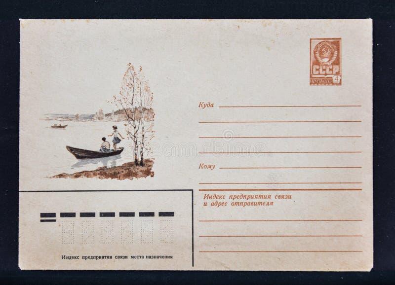 Alter sowjetischer Beitragsumschlag stockfoto