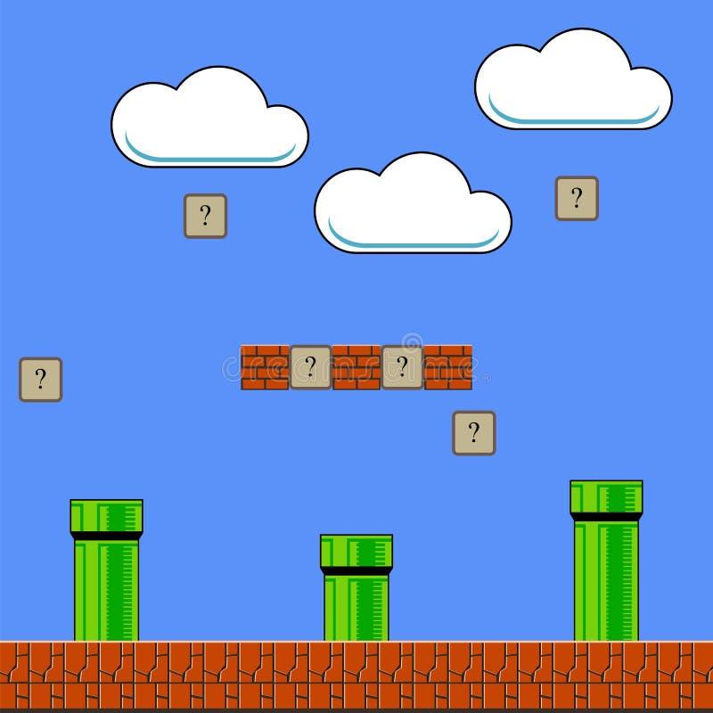 Alter Spiel-Hintergrund Klassisches Arcade Design mit Rohr und Ziegelstein stock abbildung