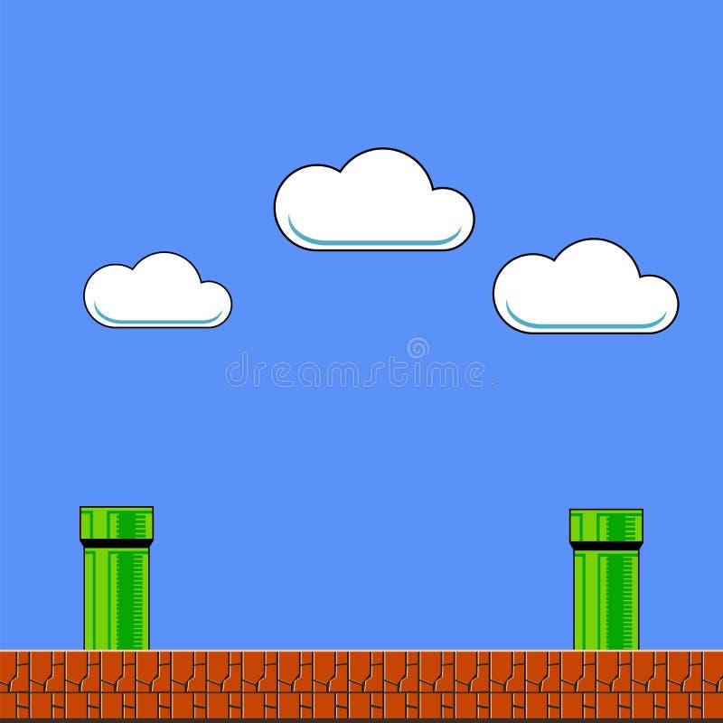 Alter Spiel-Hintergrund Klassisches Arcade Design mit Rohr und Ziegelstein lizenzfreie abbildung