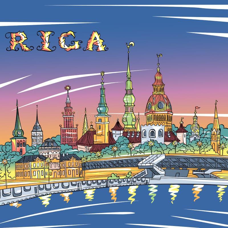 Alter Stadt- und Fluss Daugava nachts, Riga, Lettland vektor abbildung