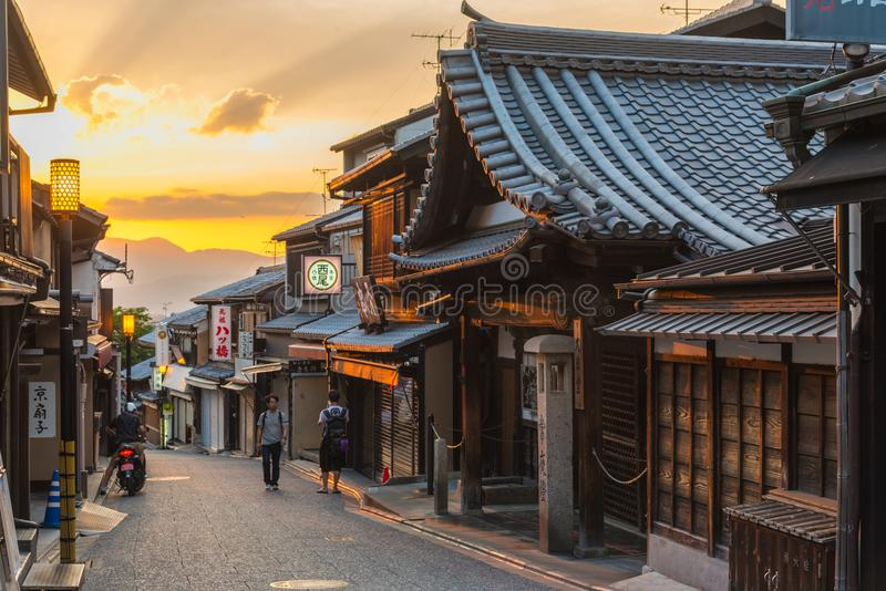 Alter Stadtbezirk von Kyoto Japan stockbild