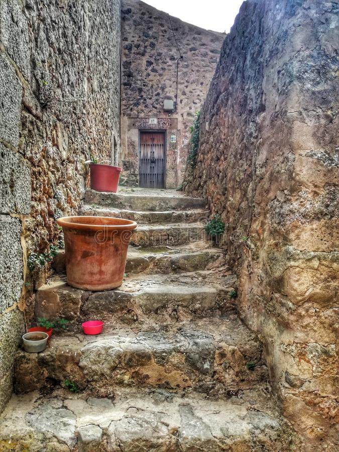 Alter Stadtgehweg Valldemosa Mallorca lizenzfreies stockbild