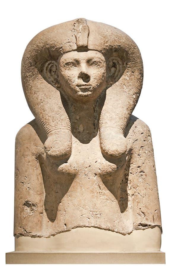 Alter Steinfehlschlag einer ägyptischen Göttin stockbild