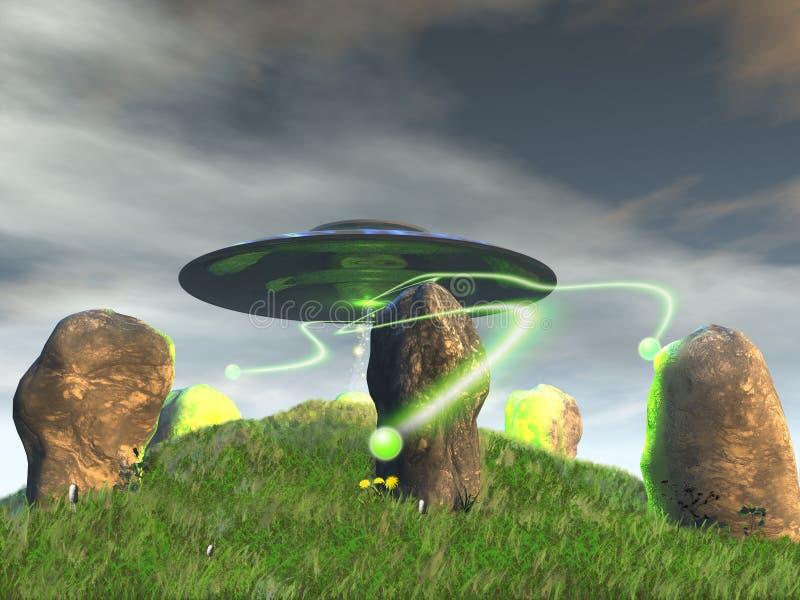 Alter Steinkreis und UFO lizenzfreie abbildung