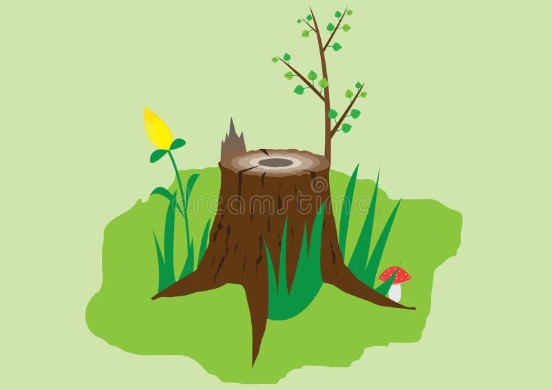 Download Alter Stumpf vektor abbildung. Illustration von wiese - 9088067