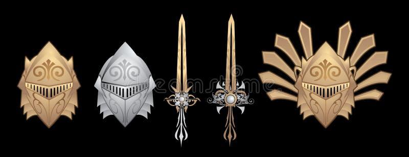 Alter Sturzhelm und Klingen des Ritters stock abbildung