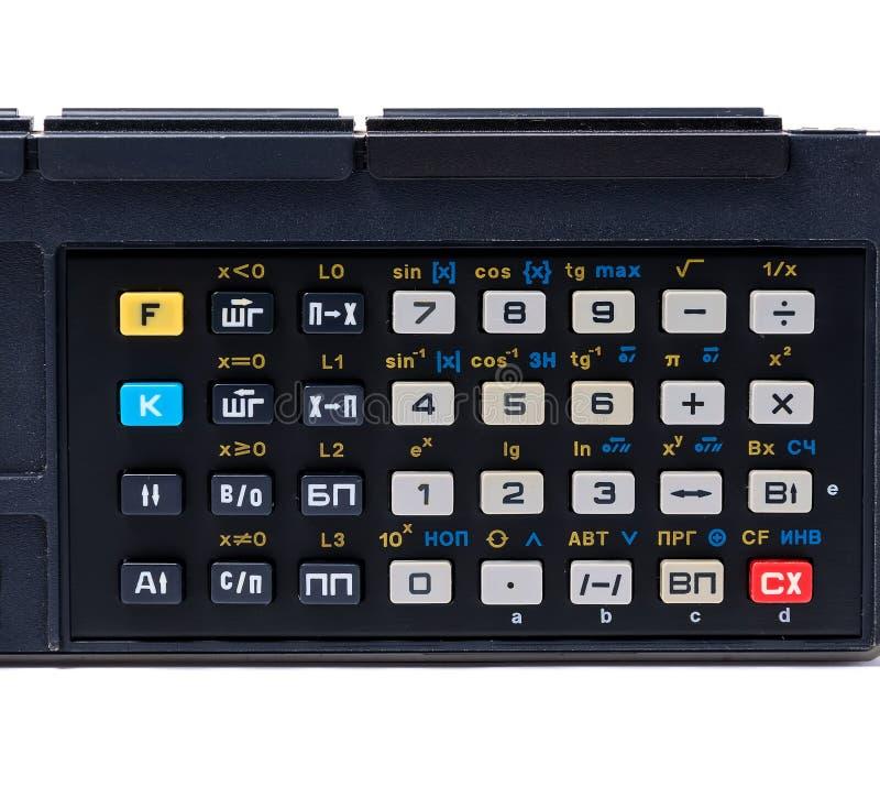 Alter Taschenrechner, lokalisiert auf Weiß mit Beschneidungspfad stockfotos