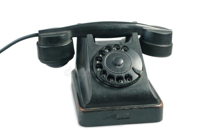 Alter Telefonapparat getrennt auf Weiß stockfotografie