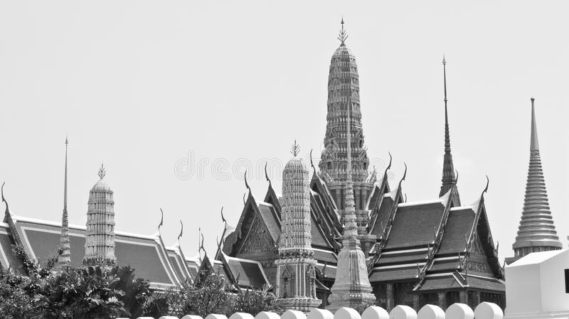 Alter Tempel, Tempel Emerald Buddhas, Wat Phra Kaew-Monochrom in Bangkok, Thailand stockbild