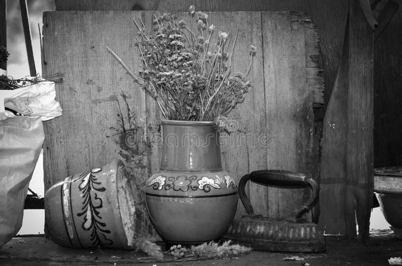 Alter Topf und Eisen mit Schwarzweiss-Thema lizenzfreie stockbilder