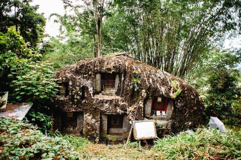 Alter torajan Beerdigungsstandort in Bori, Tana Toraja Der Kirchhof mit den Särgen gelegt in einen enormen Stein Indonesien, Rant lizenzfreie stockbilder