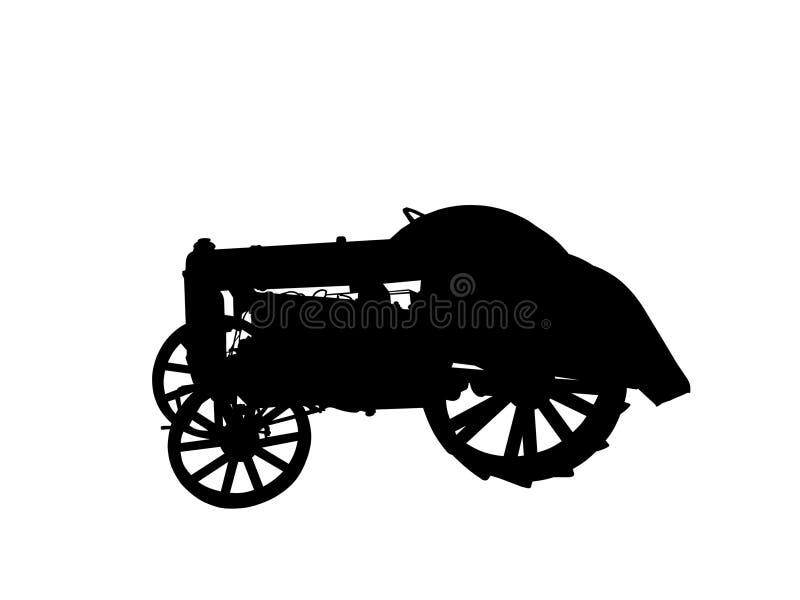 Alter Traktor im Schattenbild lizenzfreie abbildung