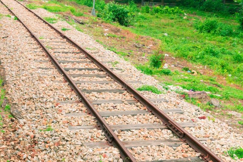 Alter Transport der Eisenbahnlinie Eisenbahnbahnstation lizenzfreie stockbilder
