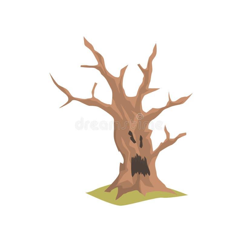 Alter trockener Baum mit furchtsamem Gesicht Natürliches Element für Wald- oder Parklandschaft Farbiges flaches Vektordesign lizenzfreie abbildung
