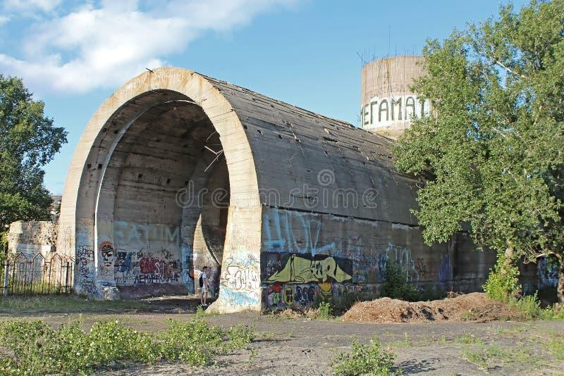 Alter Tunnel von Stalin Teil der Kyiv-Verteidigungslinie in der Zeit WW2 Heute genanntes ` konkretes Unterwasser-`, Kyiv stockbild