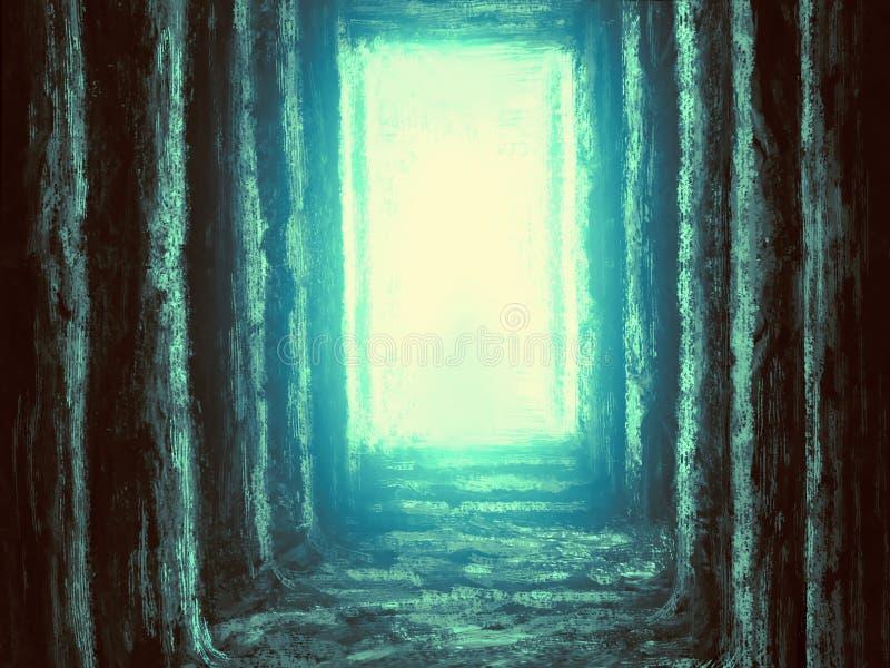 Alter unbekannter Tempel des Schicksals Grüner Hintergrund lizenzfreie abbildung