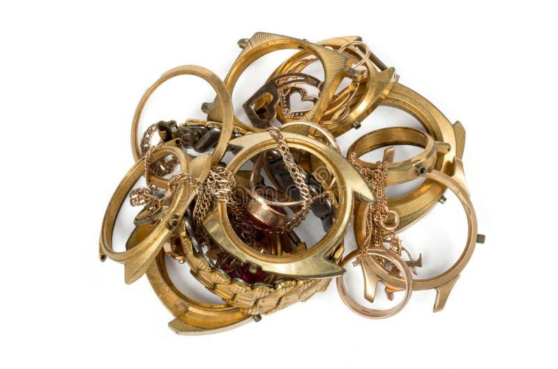 Alter und defekter Schmuck, Uhren des Goldes stockfoto