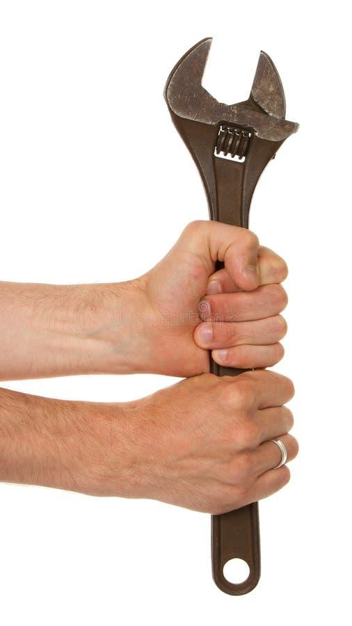 Download Alter Verrosteter Justierbarer Schlüssel In Einer Hand Stockbild - Bild von assemble, industrie: 26361243