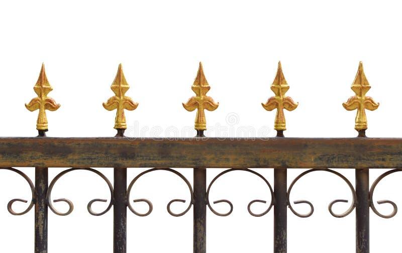 Alter verrosteter Zaun von gelben Pfeilspitzen, lizenzfreie stockfotos