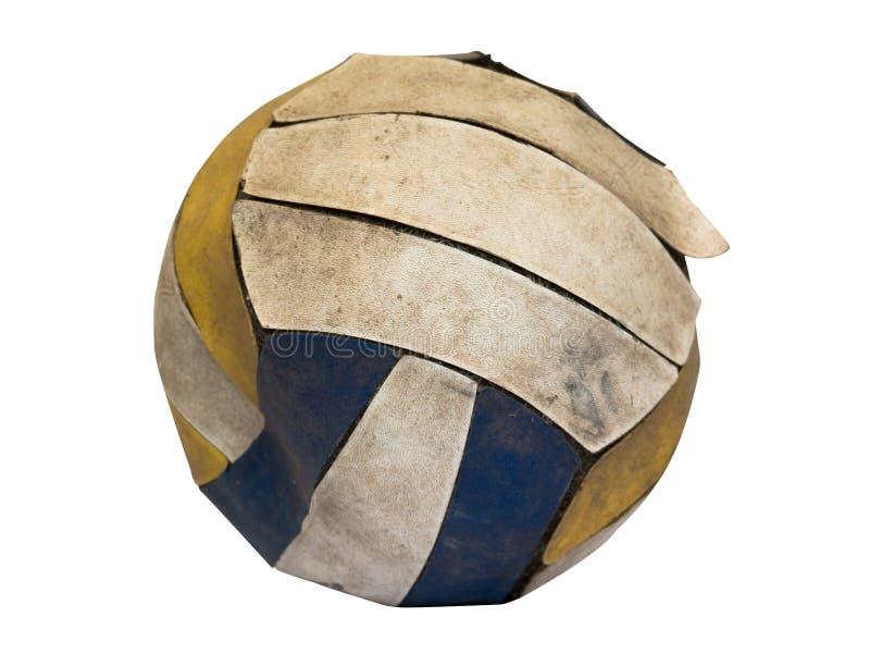 Alter Volleyball auf weißem Hintergrund stockbilder