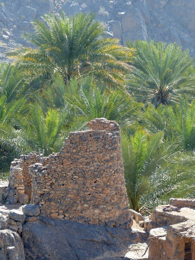 Alter Wachturm, Misfat Al Abriyeen, Oman lizenzfreies stockbild