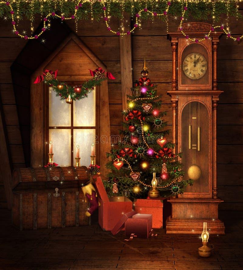 Alter Weihnachtsraum stock abbildung