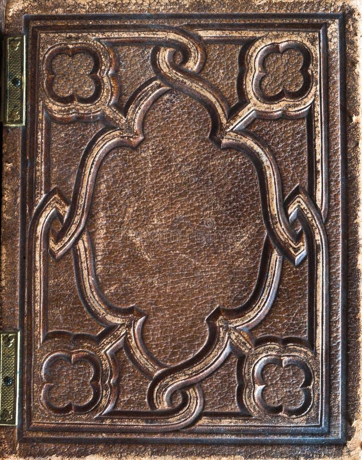 alter Weinleseleder-Bucheinband lizenzfreies stockbild