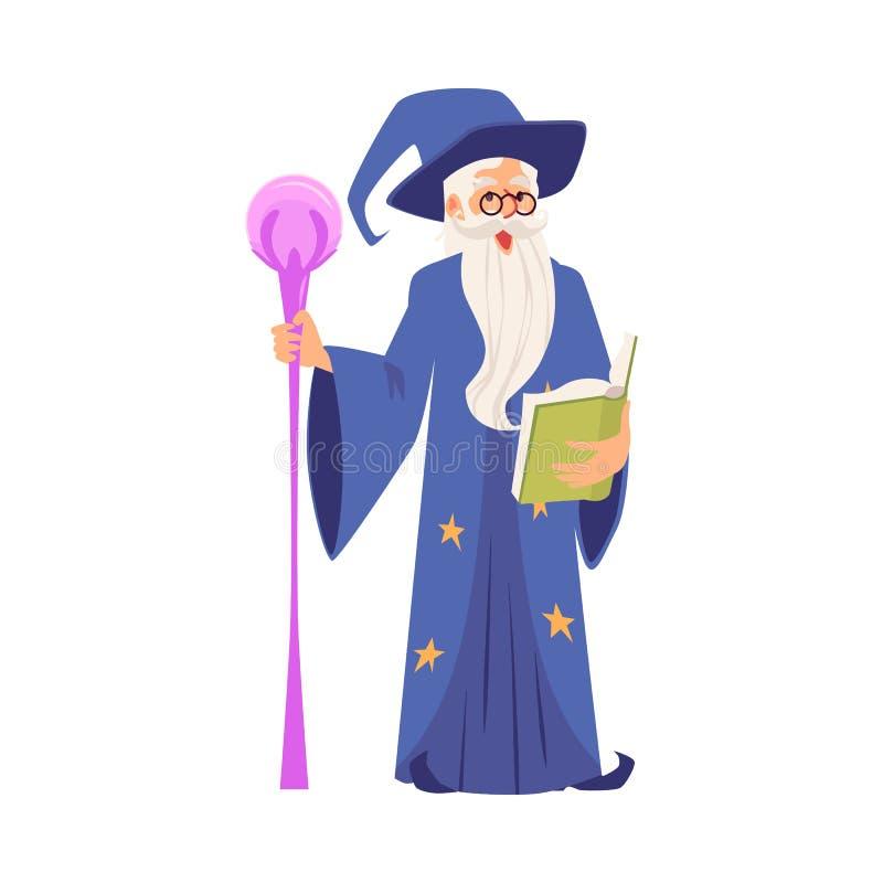Alter Zauberer in der flachen Vektorillustration der Zaubererrobe lokalisiert auf weißem Hintergrund lizenzfreie abbildung