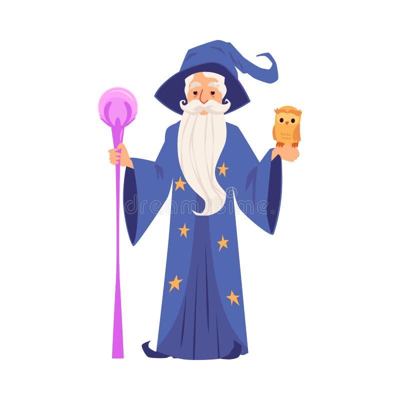 Alter Zauberermann in den Roben- und Hutständen, die Personal- und Eulenkarikaturart halten lizenzfreie abbildung