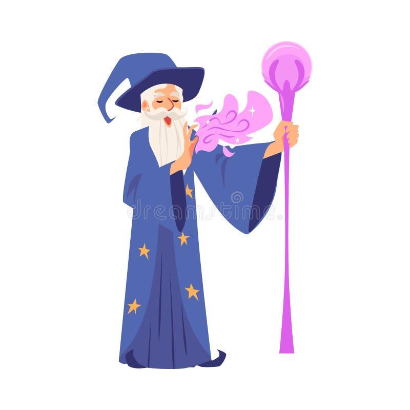Alter Zauberermann in der Robe und im Hut steht mit Personal und macht magische Karikaturart lizenzfreie abbildung