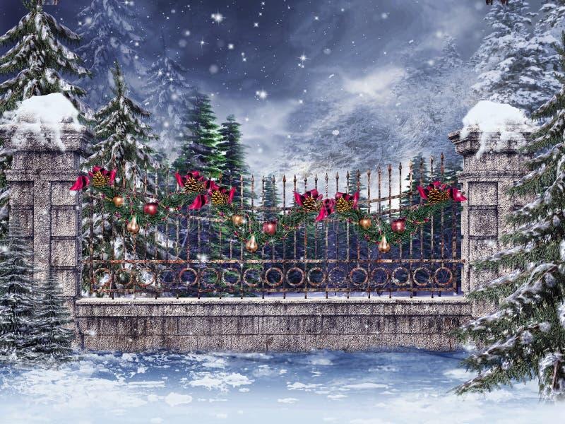 Alter Zaun mit einer Girlande lizenzfreie abbildung