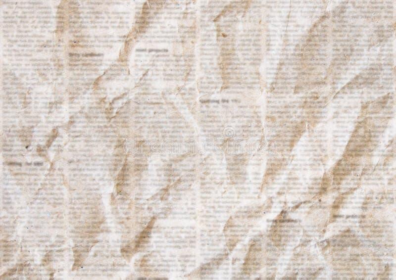 Alter zerknitterter Zeitungsbeschaffenheitshintergrund lizenzfreie stockfotografie