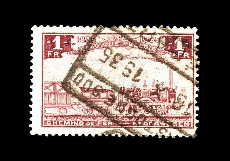 Alter Zug auf Briefmarke stockfotografie